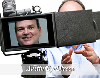 Man on screen of EyeDirect unit - Austin