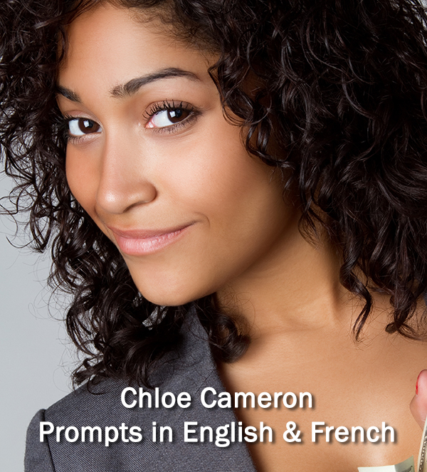 Chloe Cameron, exotic curly haired young lady - Austin Teleprompter Speech Coach, Prompts in English and French