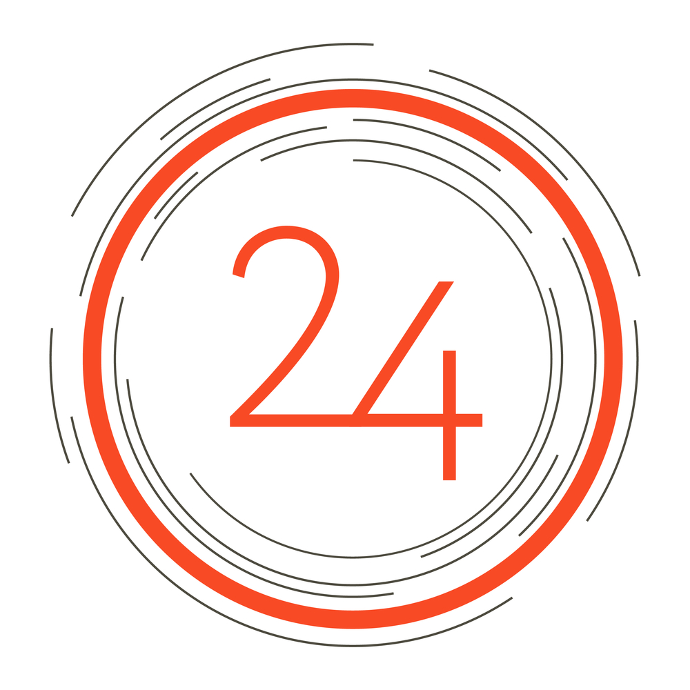 24 hours logo - red