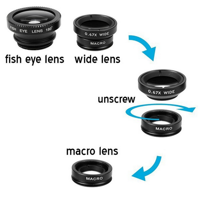 GETIHU Fish eye 3 in 1 Wide Angle Macro Fisheye With Clip Universal Mobile Phone Lens For iPhone 5S 6 7 Plus Samsung Camera Len | Teleprompter Rental