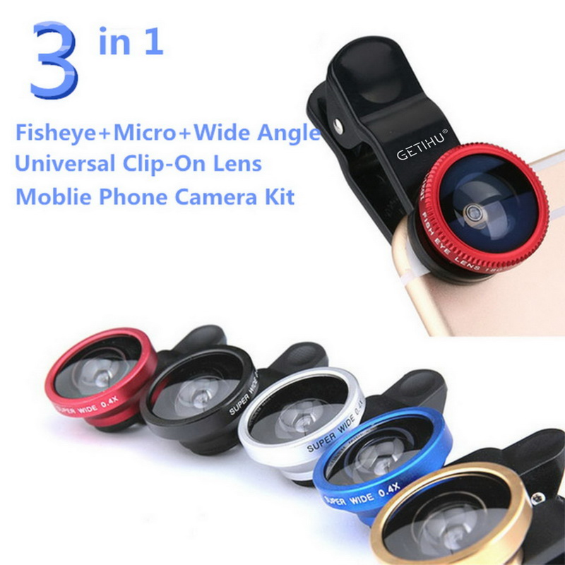 GETIHU Fish eye 3 in 1 Wide Angle Macro Fisheye With Clip Universal Mobile  Phone Lens For iPhone 5S 6 7 Plus Samsung Camera Len