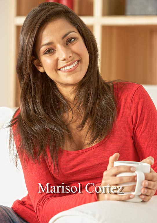 Marisol Cortez, brown haired young girl - Teleprompter Speech Coach, red sweater, white cup in hand