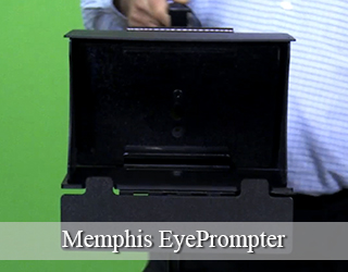 EyePrompter device held by man in blue shirt against green screen
