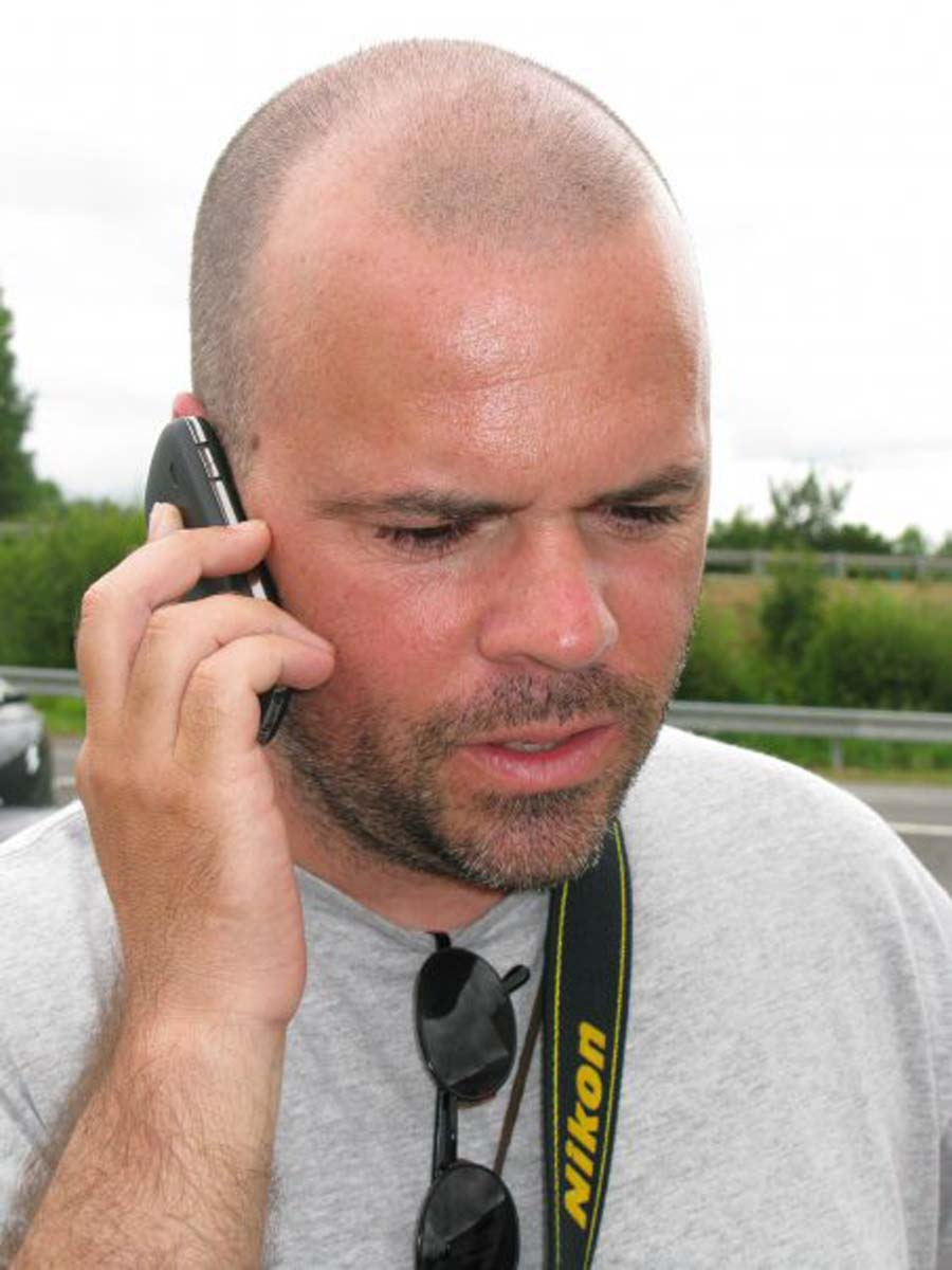 Pedro, bald young man on the phone