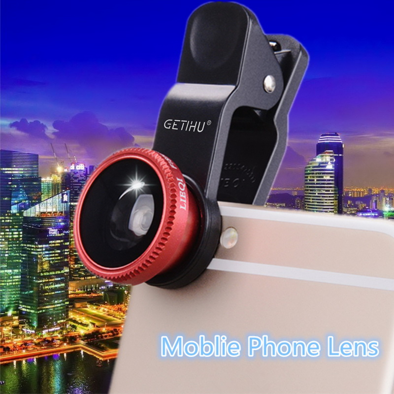 Universal Fisheye Lens 3 in 1 Mobile Phone Clip Lenses Fish Eye Wide Angle  Macro Camera Lens for Smartphone iPhone 6 Microscope