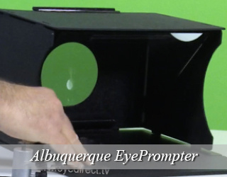 EyePrompter setup - green screen in background - Albuquerque