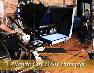 Dolly Prompter setup on set - Atlantic City
