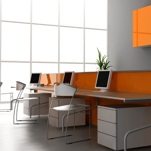 Office interior - beautiful orange background
