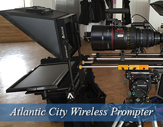 Wireless Prompter unit on set - Atlantic City