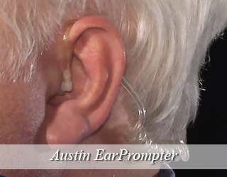 Close up of man's ear with EarPrompter - Austin