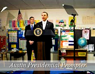 President Obama and man behind him - Presidential Teleprompter unit - Austin