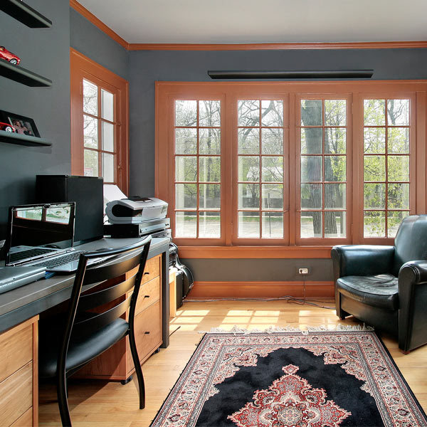 Office interior - desk, carpet, beautiful windows