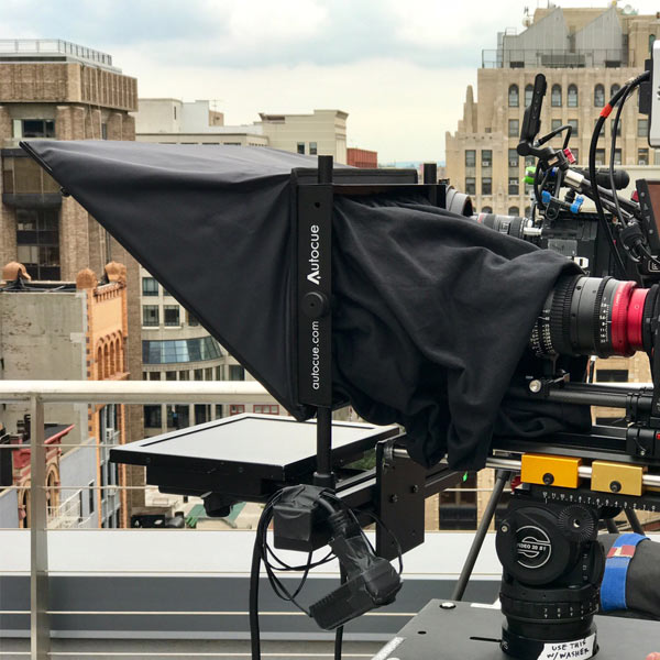 AutoCue setup on roof - buildings in background