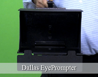 Man holding EyePrompter unit - Dallas