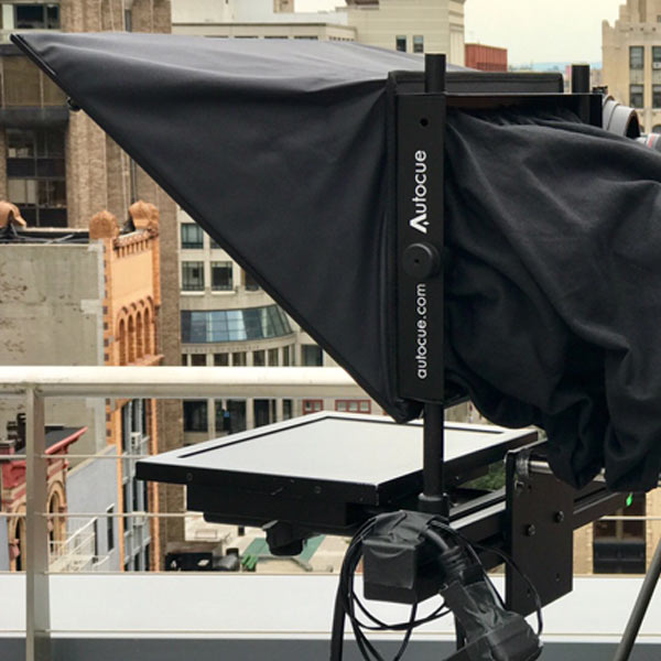 Standard Teleprompter AutoCue on roof - buildings in the background