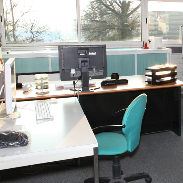 Office Interior - desk, computer, chair , windows