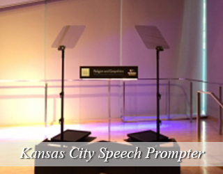 Speech Prompter and Podium set up in studio - Kansas City