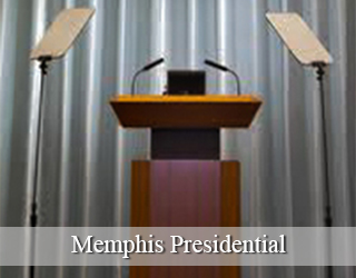 Presidential Teleprompter and Podium against grey curtain - Memphis