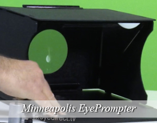 EyePrompter unit against green screen - Minneapolis