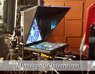 Interrotron setup on set - Minneapolis