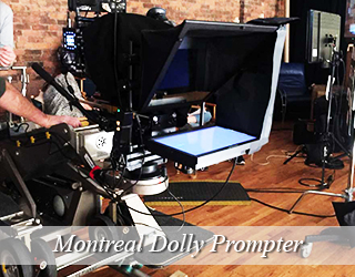 Dolly Prompter on set indoors - crew members partially seen - Montreal