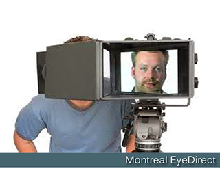 EyeDirect unit - man's face on screen - Montreal