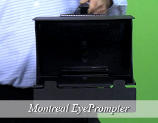 EyePrompter unit held by someone in blue shirt against green screen - Montreal