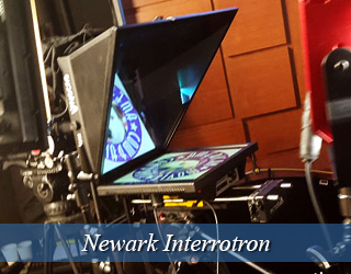 Interrotron unit on set - AMC logo reflected on screen - Newark