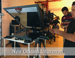New Orleans Interrotron setup - Michael Gonzalez et al behind it.
