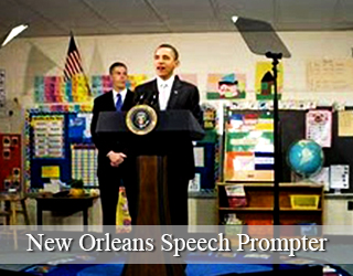 President Obama and other man behind New Orleans Speech Prompter