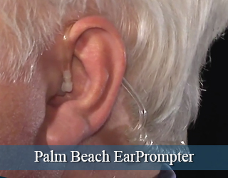 EarPrompter in man's ear - close up - Palm Beach