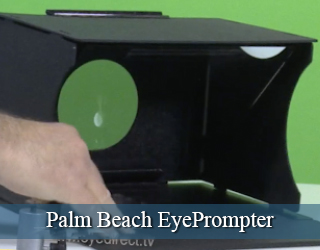 EyePrompter unit set agains green screen - Palm Beach