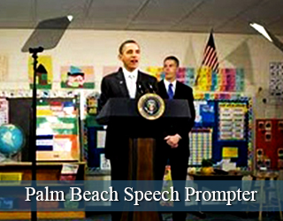 Speech Prompter - President Obama and man behind it - busy set - Palm Beach