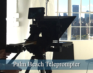 Standard Teleprompter on set interior - windows in background - Palm Beach