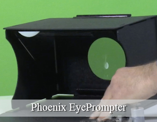 EyePrompter unit against green screen