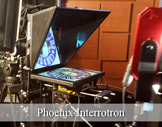 Interrotron unit in studio - AMC logo visible on screen - Phoenix