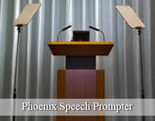 Presidential Teleprompter and Podium - grey curtains
