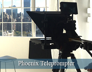 Through-the-lens Teleprompter on set - windows in background - Phoenix