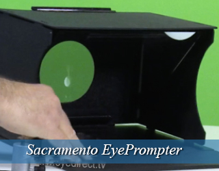 EyePrompter device - green screen in background - Sacramento