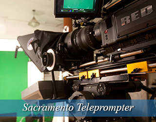 Teleprompter on set - green screen in background - Sacramento