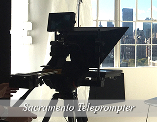 Teleprompter through-the-lens unit - windows in background