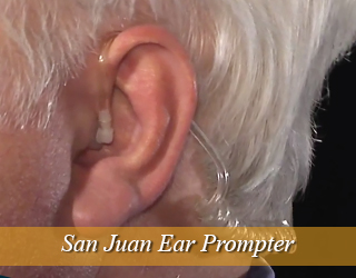 Ear Prompter - man's ear close up - San Juan