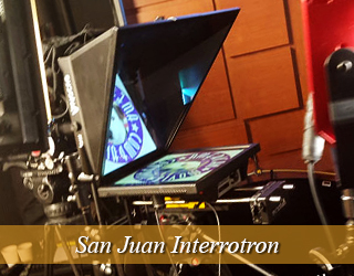 Interrotron set up on set - AMC logo visible on screen - San Juan