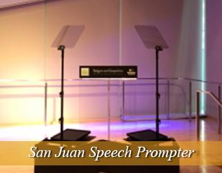 Speech Prompter and Podium on bright set - San Juan, Puerto Rico