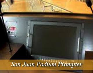 Podium Prompter unit on podium - San Juan, Puerto Rico