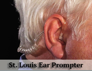 Ear Prompter in man's ear - St Louis
