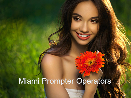 Girl smiling & holding a flower - Miami Prompter Operators