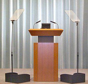 Presidential Prompter on each side of podium no speaker