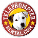 Small TeleprompterRental.com logo good . with red circle and white dog in the center