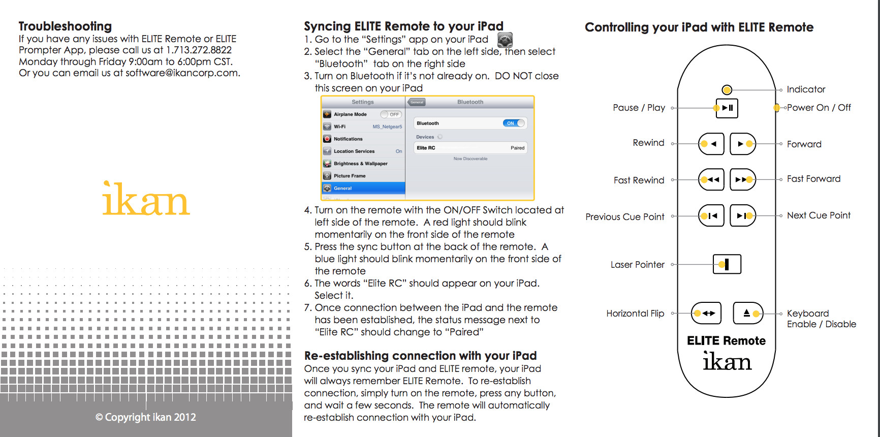 iPad Universal Remote Manual page 2